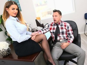 Secretary In Stockings Satisfies Her Boss In The Office...