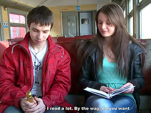 Slutty Beautiful Girl Meets Two Guys in the Train and Has a Threesome